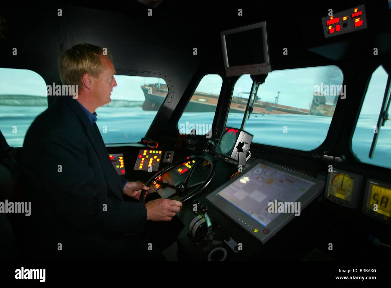 RNLI's Lifeboat College in Poole, Dorset - Lifeboat simulator. - Stock Image
