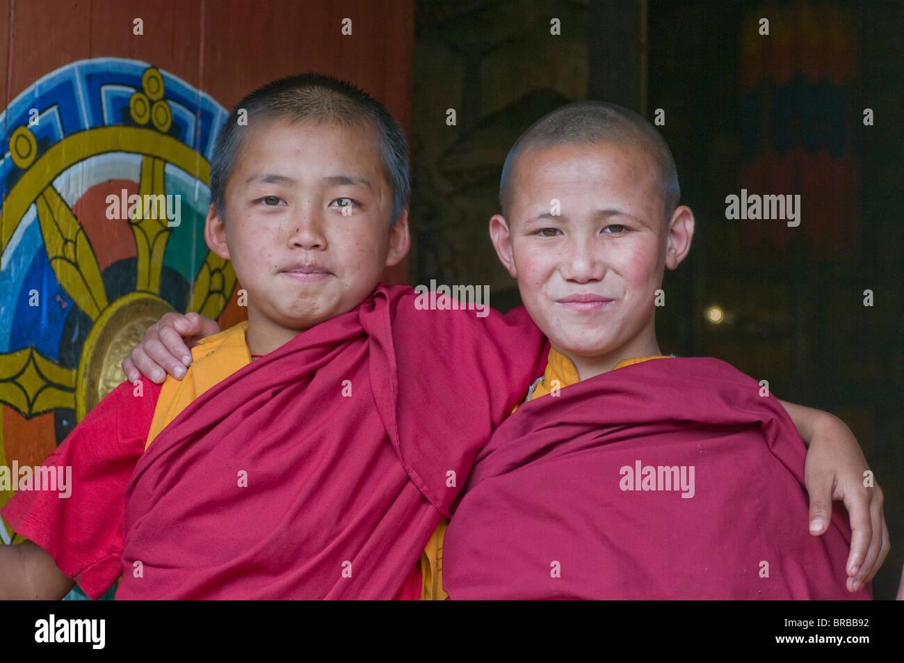 Happy Buddhist monks, Chimi Lhakhang, Bhutan - Stock Image