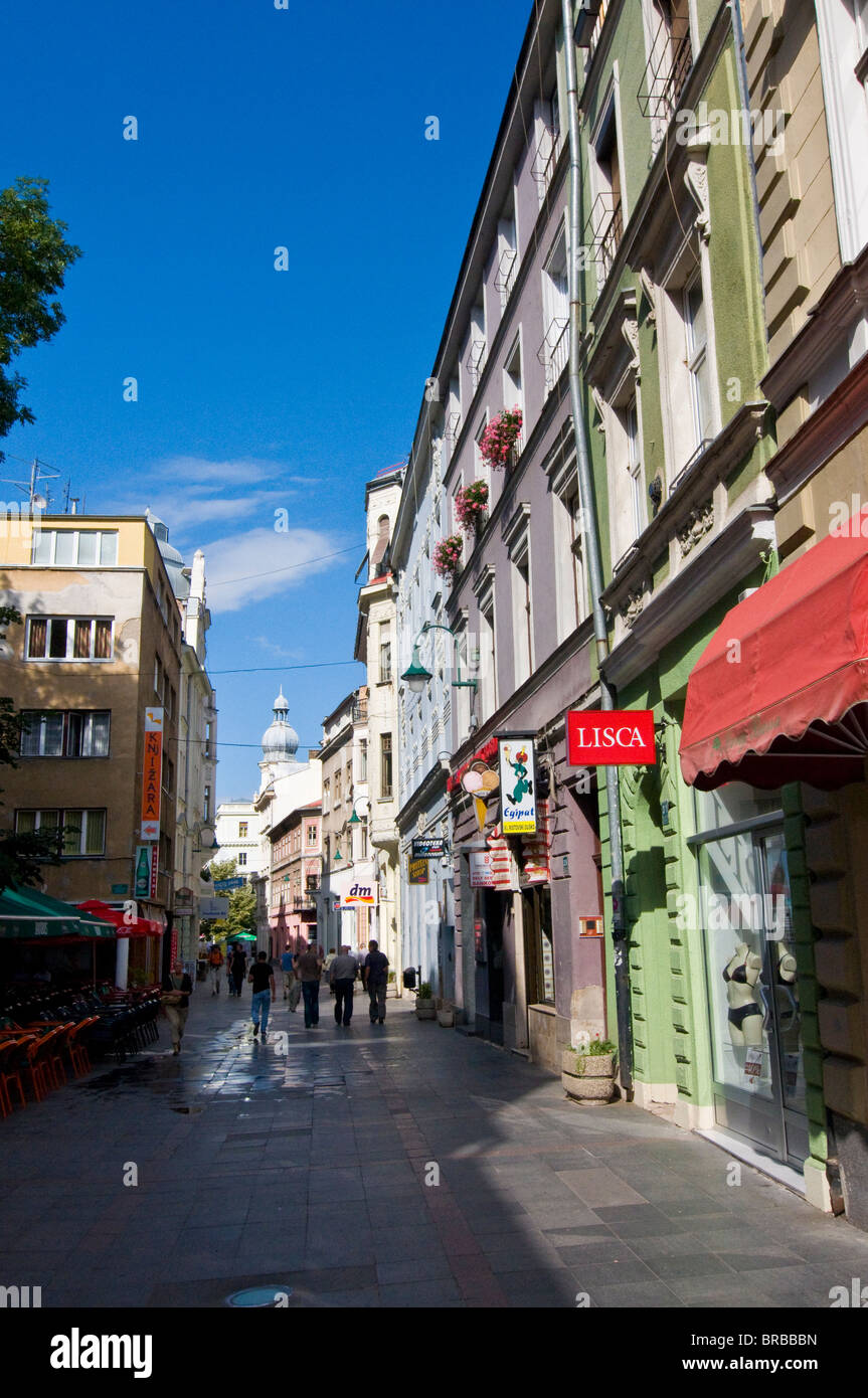 Pedestrian zone in the town of Sarajevo, Bosnia-Herzegovina - Stock Image