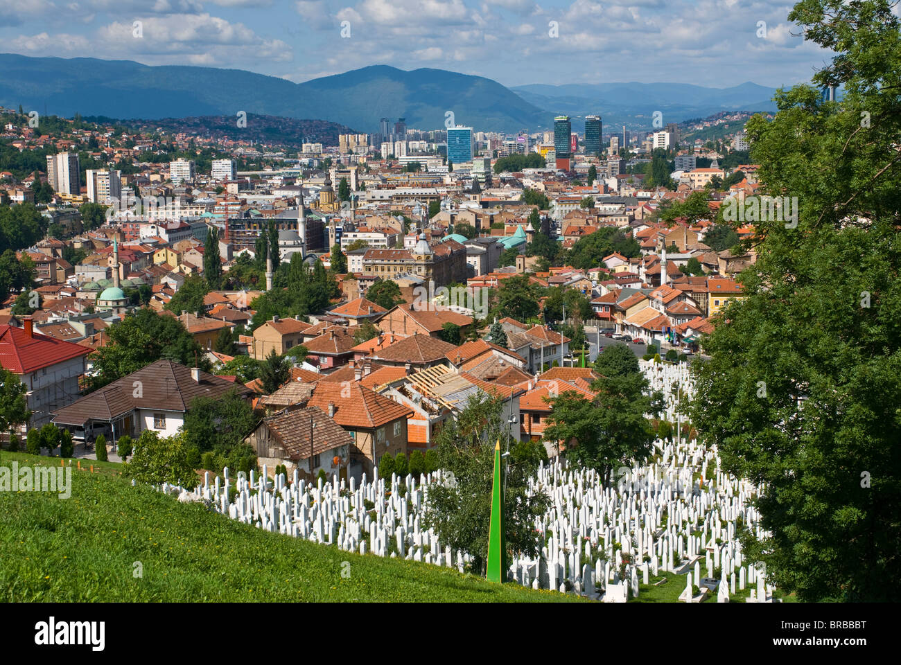 View over the city of Sarajevo, Bosnia-Herzegovina - Stock Image