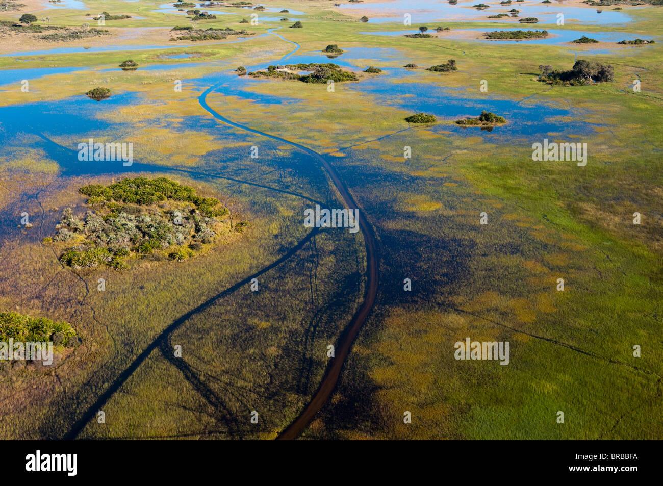 Aerial view of Okavango Delta, Botswana - Stock Image