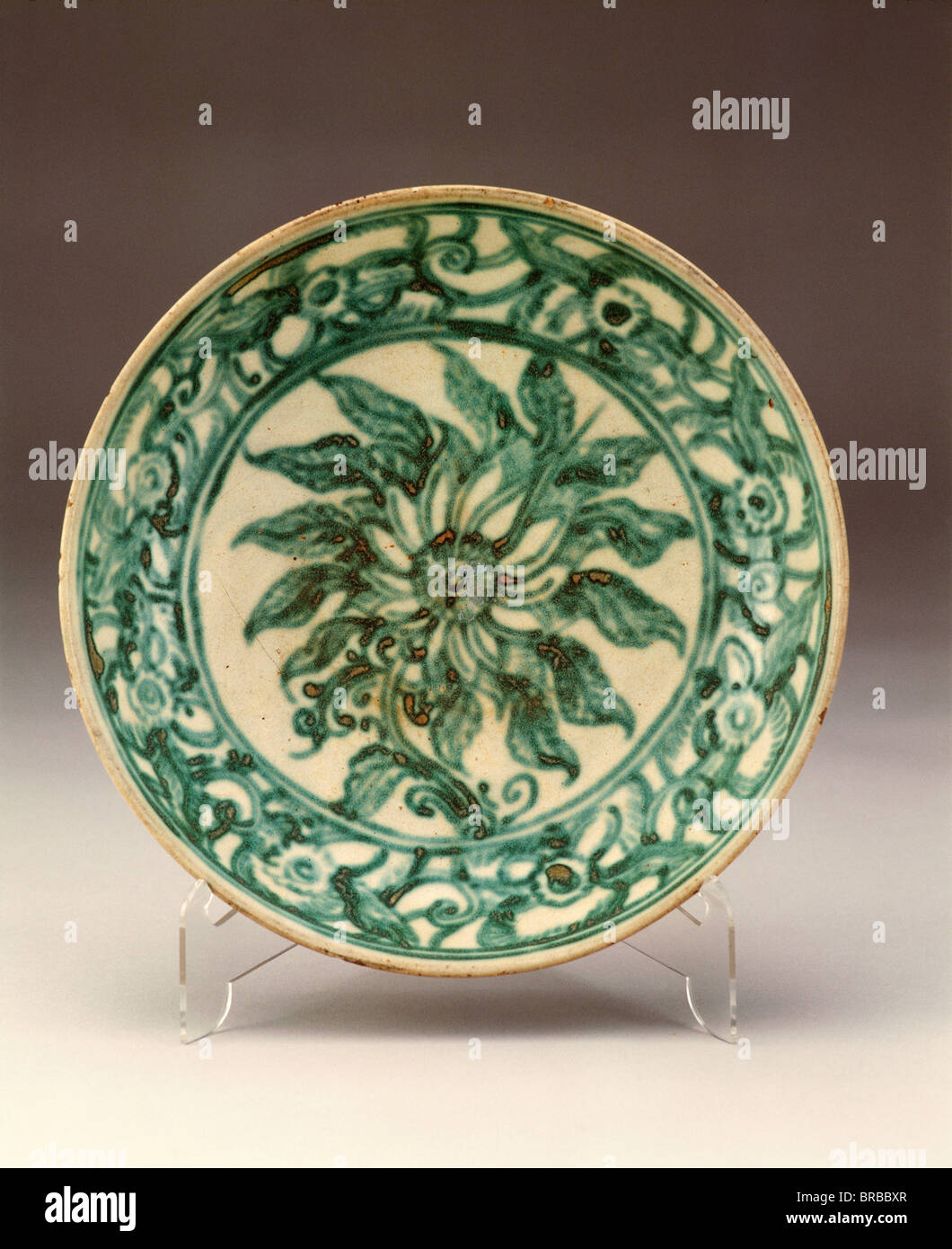 Burmese glazed ceramic plate dating from the 15th or 16th century from the Tak excavations, Myanmar (Burma) - Stock Image