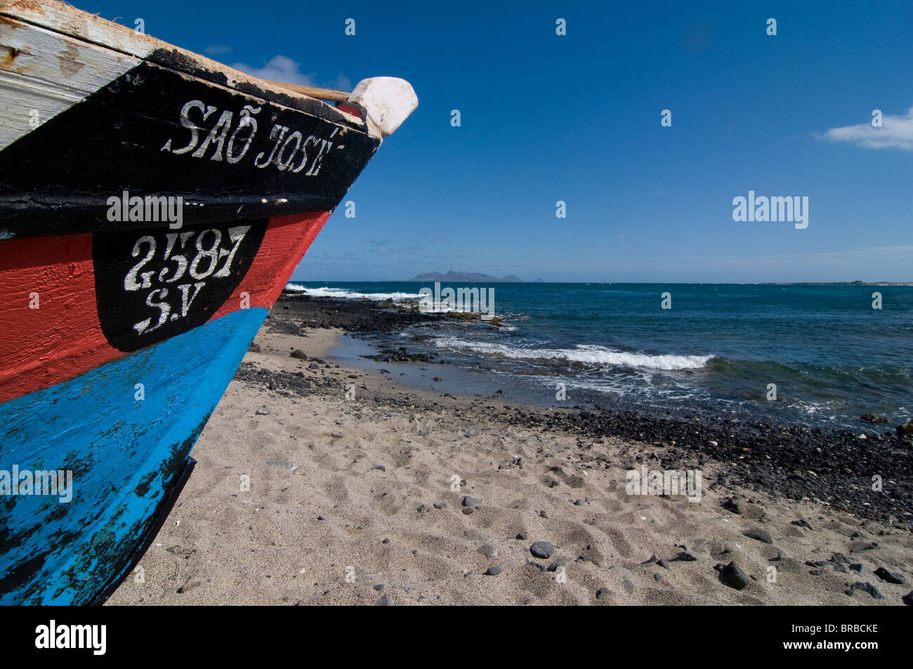 Wooden boat at sandy beach, Sao Vicente, Cape Verde, Atlantic Stock Photo