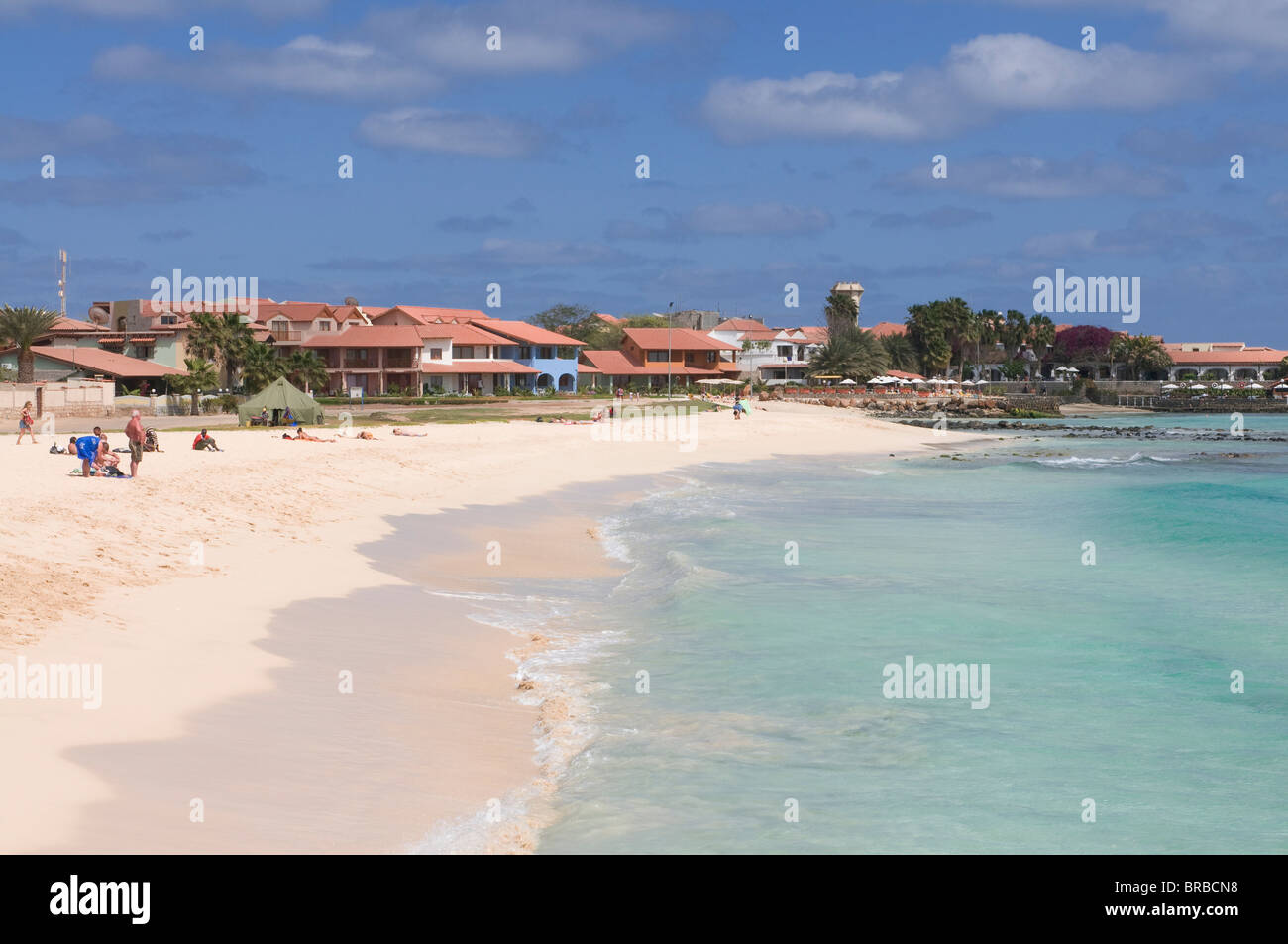 Sandy beach, Santa Maria, Sal, Cape Verde, Atlantic - Stock Image