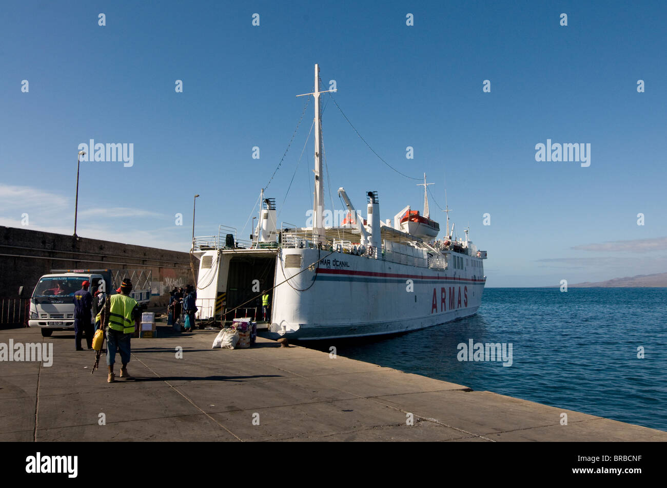Ferry in the harbor of Porto Novo, Santo Antao, Cape Verde, Atlantic - Stock Image