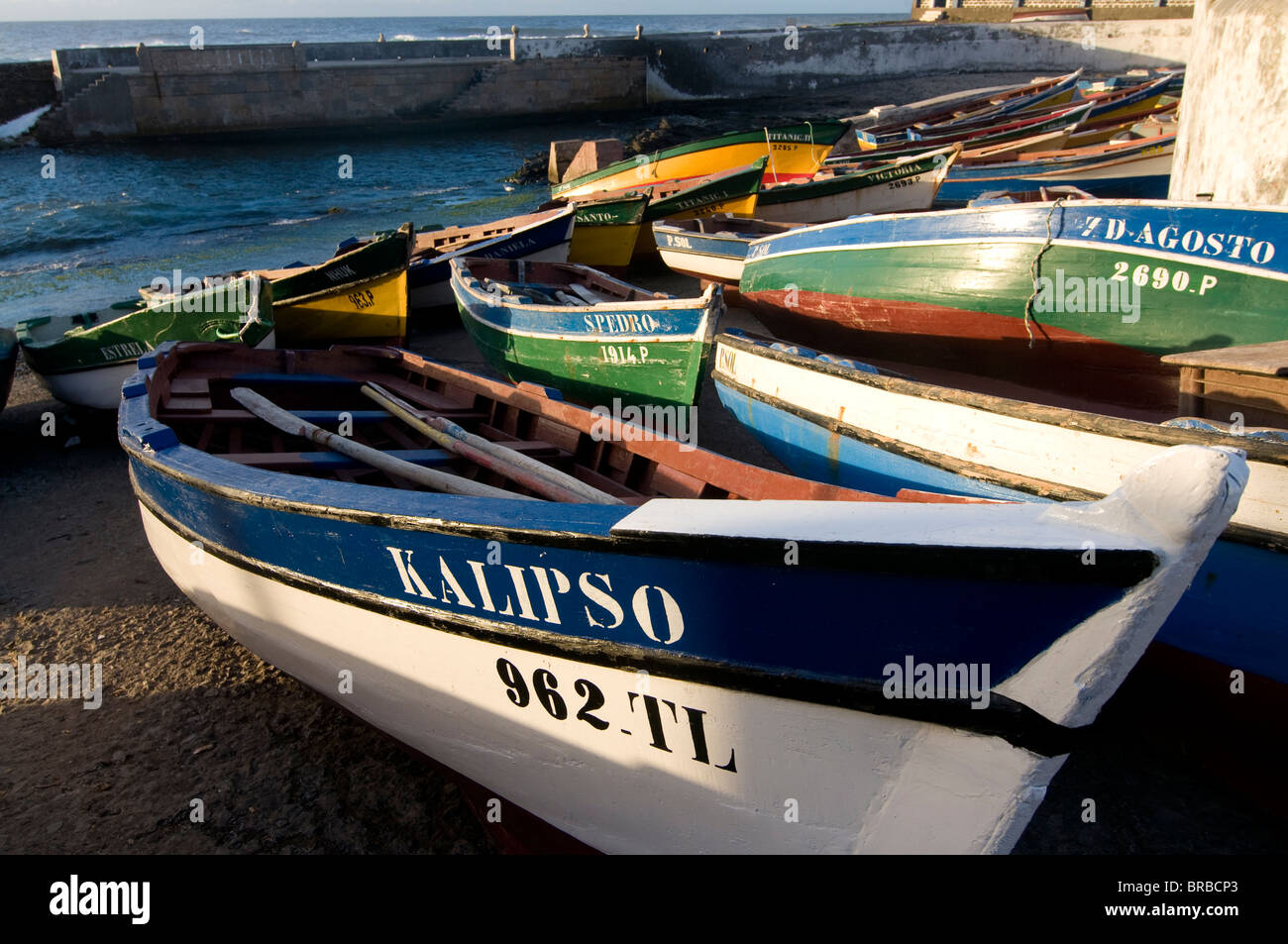 Wooden boats at the beach, Ponta do Sol, Santo Antao, Cape Verde - Stock Image