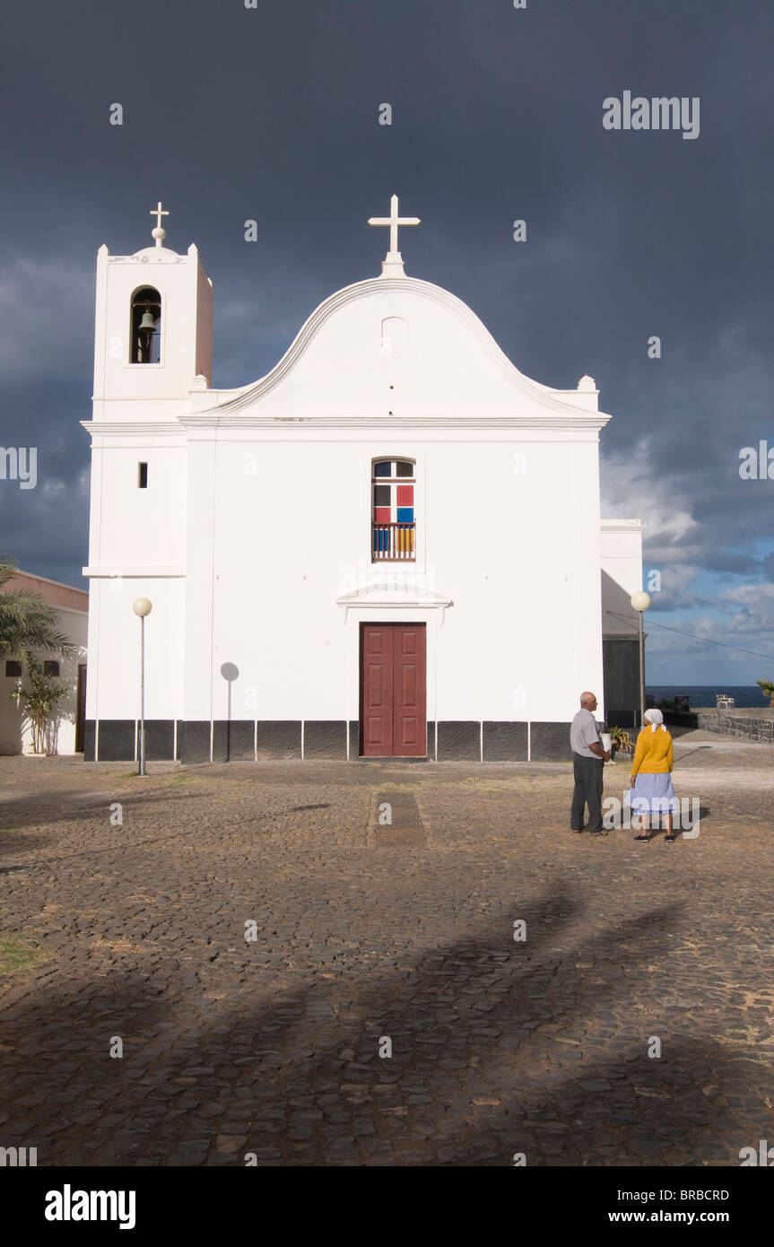 White church, Ponta do Sol, Santo Antao, Cape Verde - Stock Image