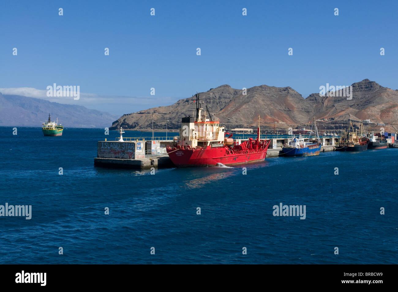 Cargo ship in harbor, Mindelo, Sao Vicente, Cape Verde - Stock Image
