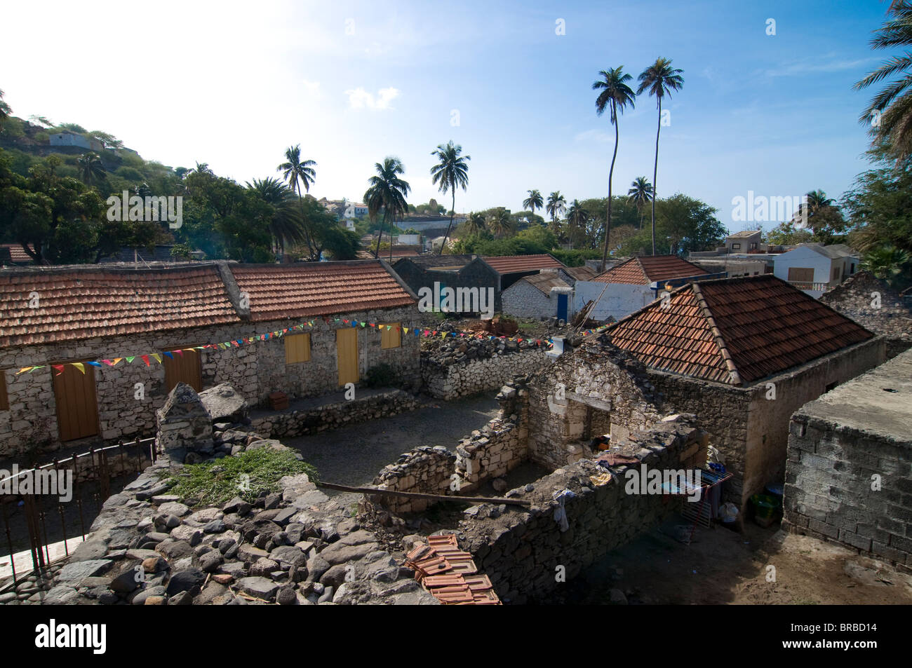 Buildings in picturesque old town of Ciudad Velha (Cidade Velha), Santiago, Cape Verde - Stock Image