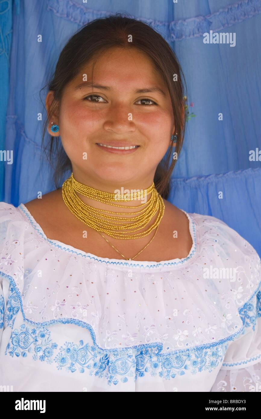 Ecuadorian woman in Montecristi colonial town, City of Manta, Ecuador Stock Photo