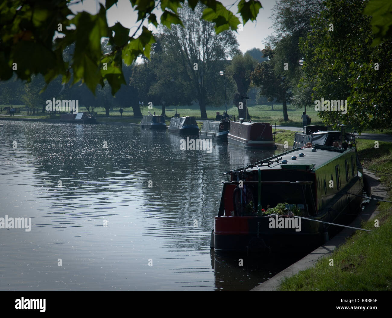 Moored longboats along the towpath along the River Cam in Cambridge, with moored boats, in early morning autumn - Stock Image