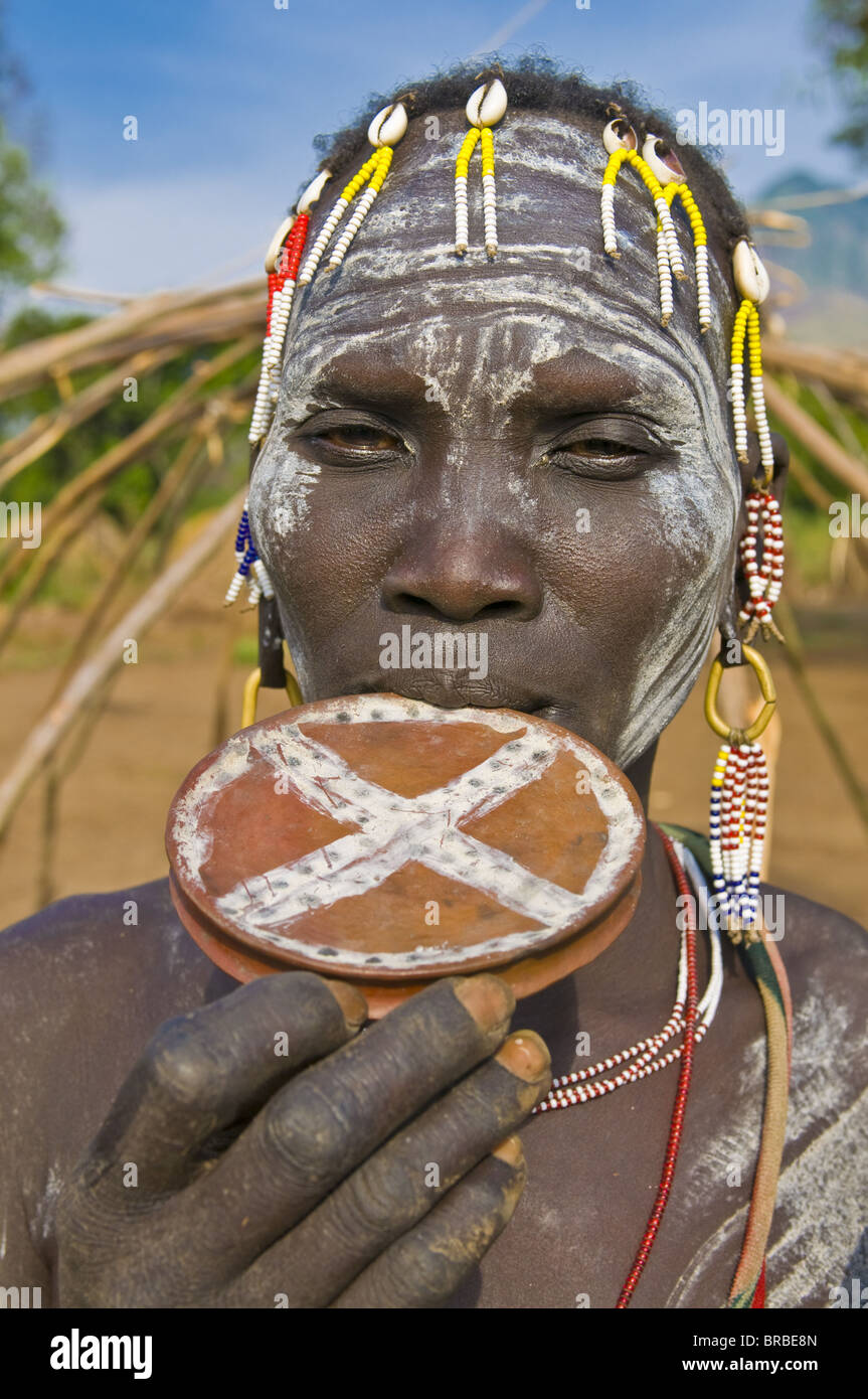 Local Mursi of the tribe of the Mursis, Omo valley, Ethiopia - Stock Image