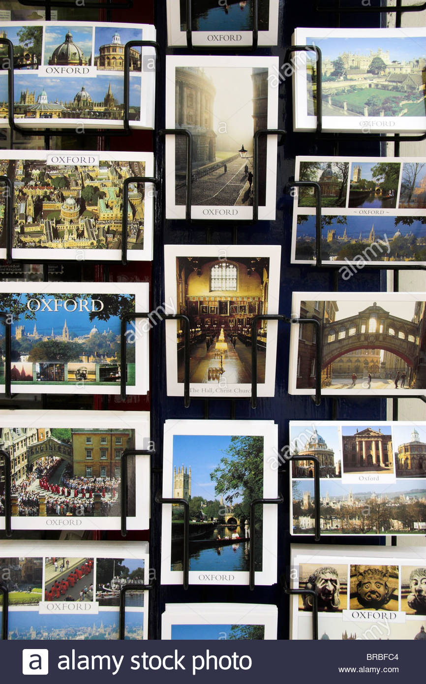 Oxford postcards in a rack. UK. - Stock Image
