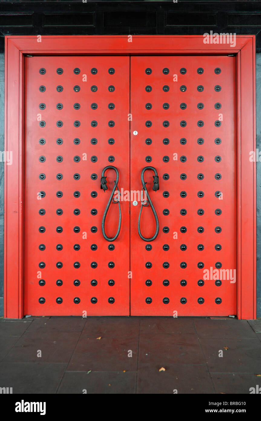 Pair of red doors - Stock Image