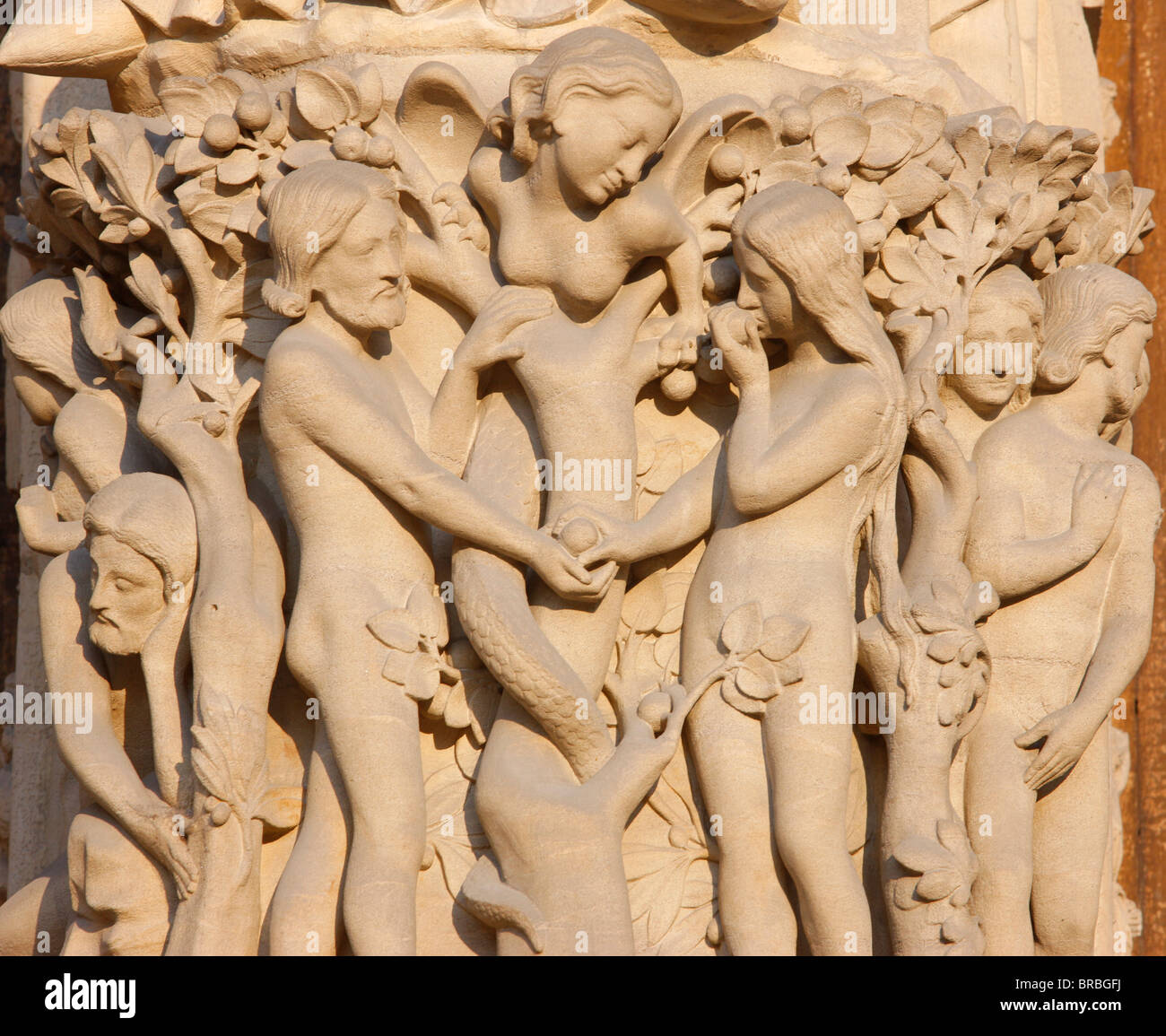 Adam and Eve, Virgin's Gate, west front, Notre Dame Cathedral, UNESCO World Heritage Site, Paris, France - Stock Image