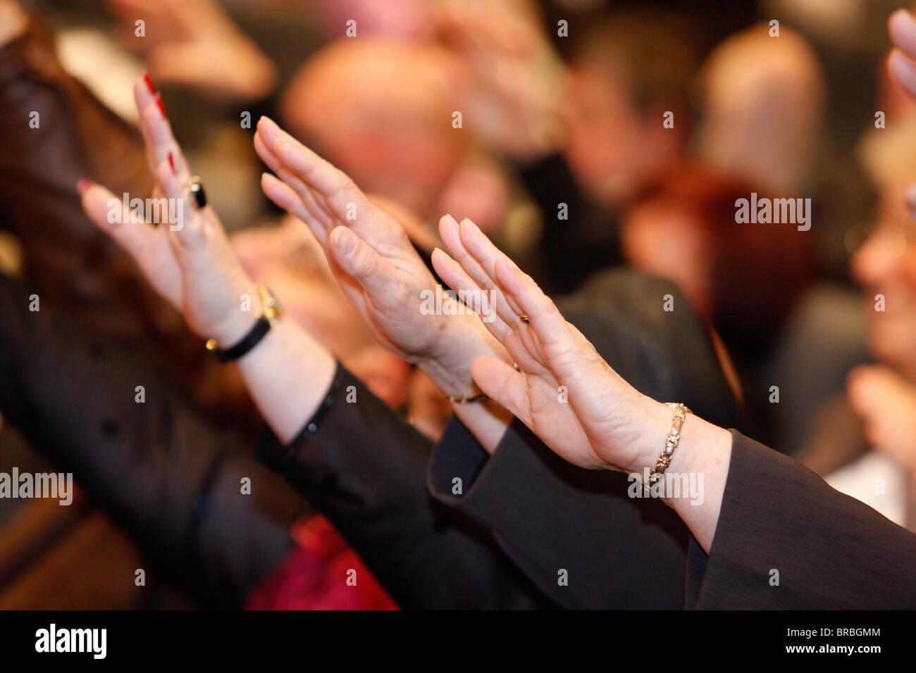 Shekinah Glory Evangelical group meeting, Paris, France - Stock Image