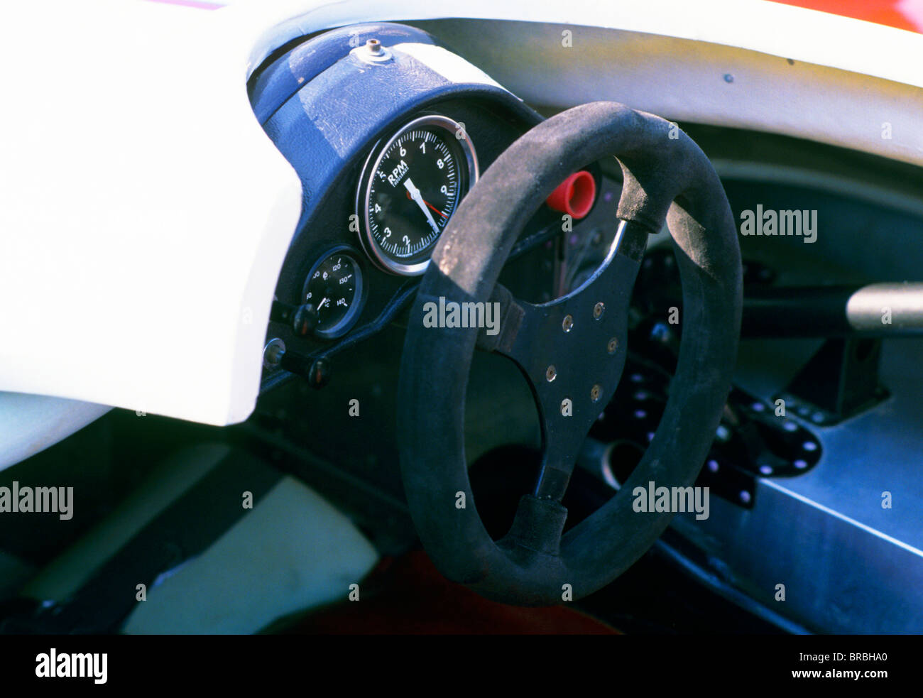 Inside view of the cockpit of a racing car with dials