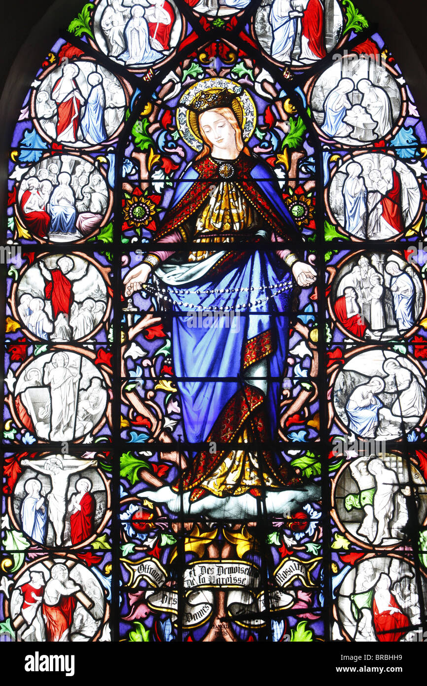 Stained glass of Christ's Passion, Saint Martin's church, Saint-Valery-sur-Somme, Somme, France - Stock Image