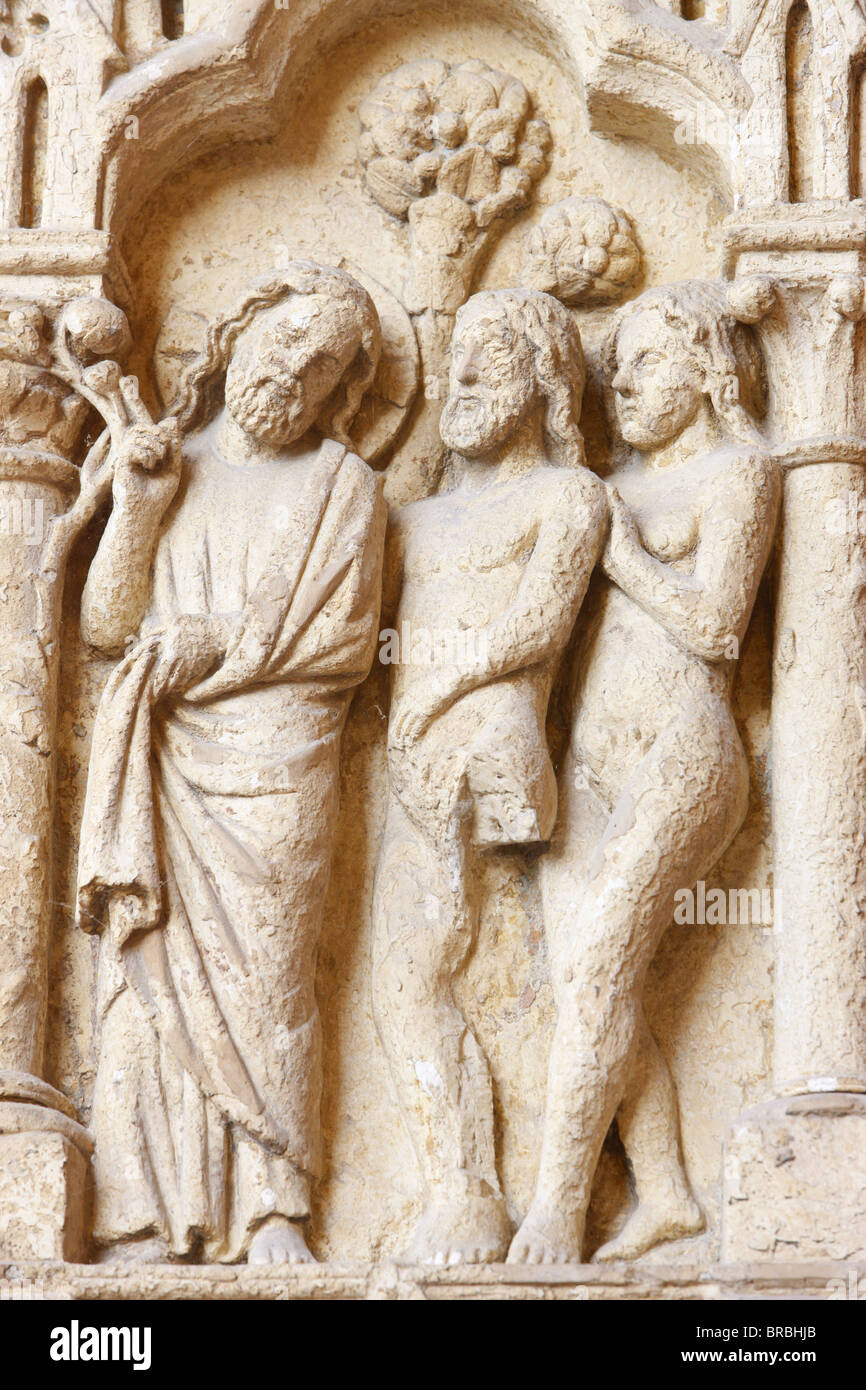 Adam and Eve, Amiens Cathedral, UNESCO World Heritage Site, Amiens, Somme, France - Stock Image