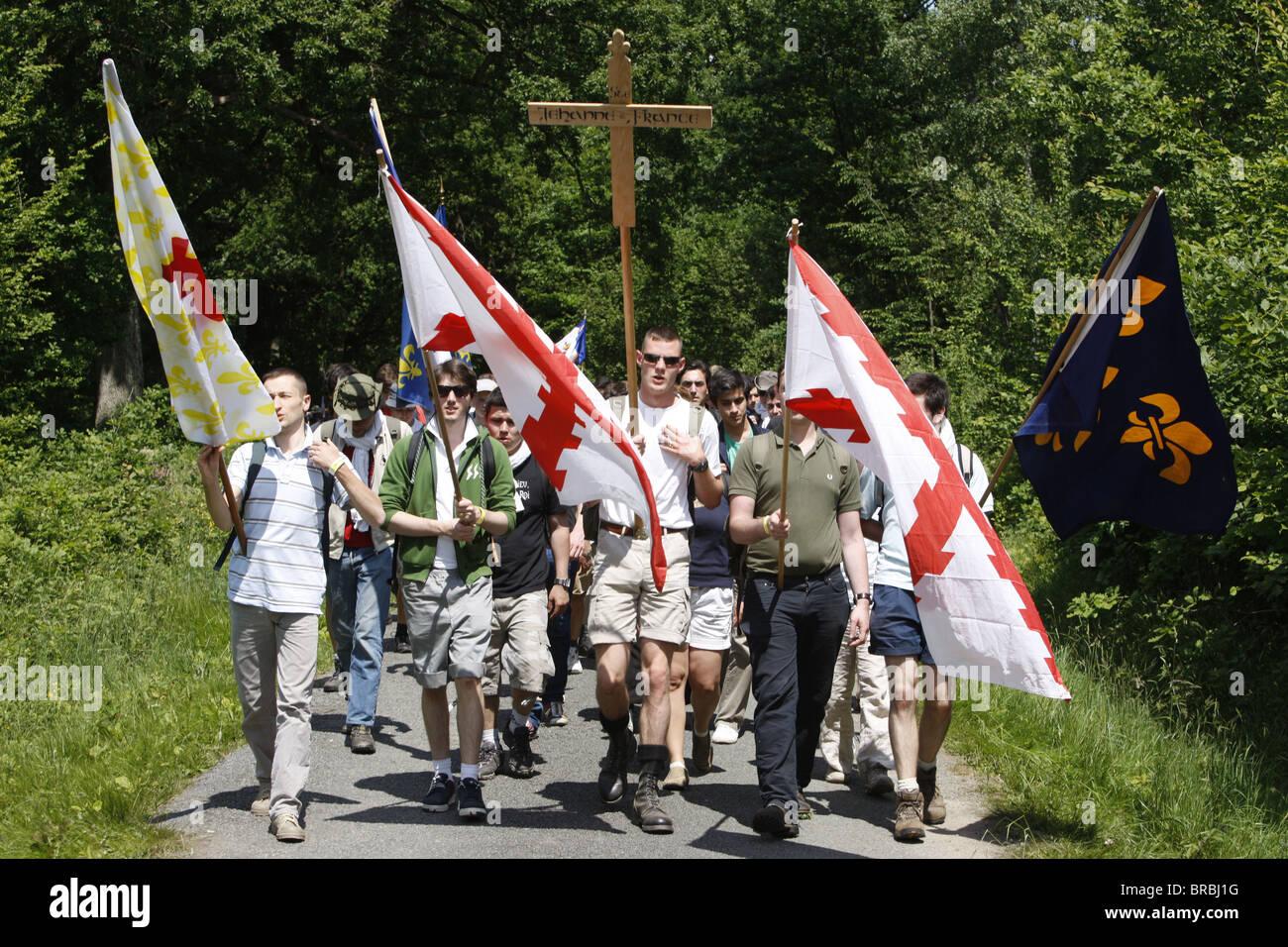 Traditionalist Catholic pilgrimage, Les Bordes, Yvelines, France - Stock Image