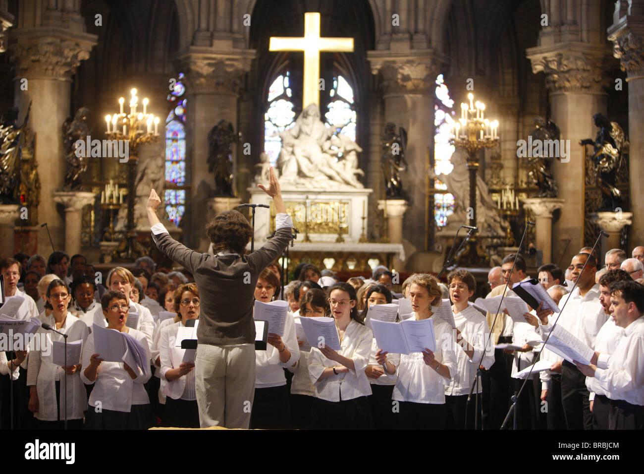Notre Dame de Paris Cathedral choir, Paris, France - Stock Image