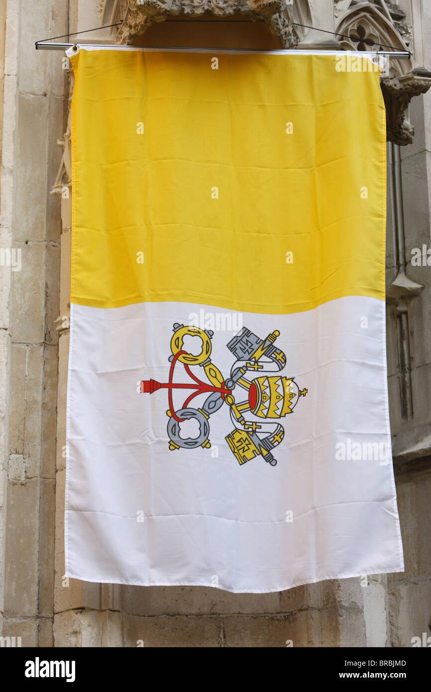 Pope's banner, Avignon, Vaucluse, France - Stock Image