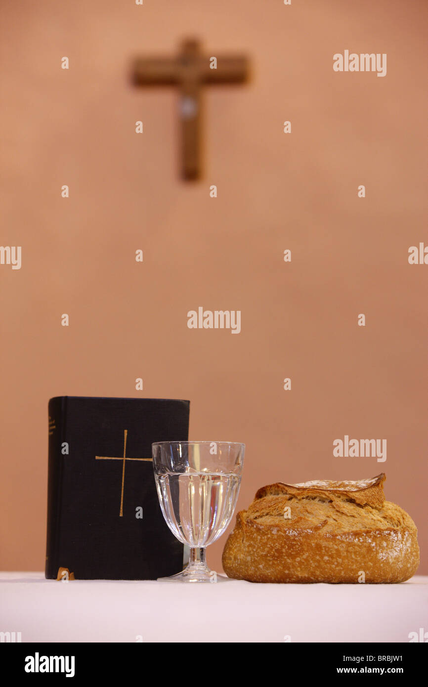Bread and water during Lent, Les Contamines, Haute Savoie, France - Stock Image