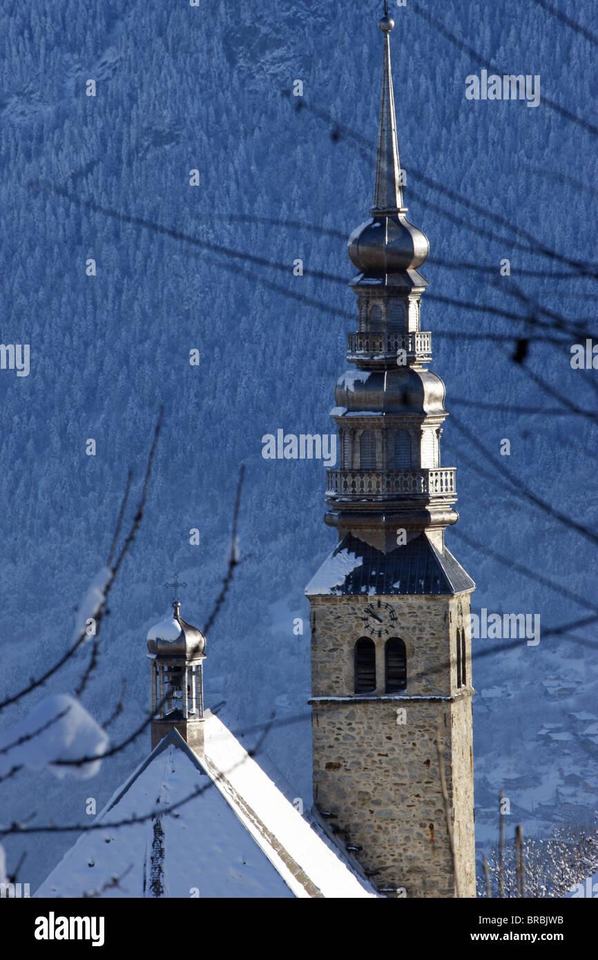 Combloux church spire, Combloux, Haute Savoie, France - Stock Image