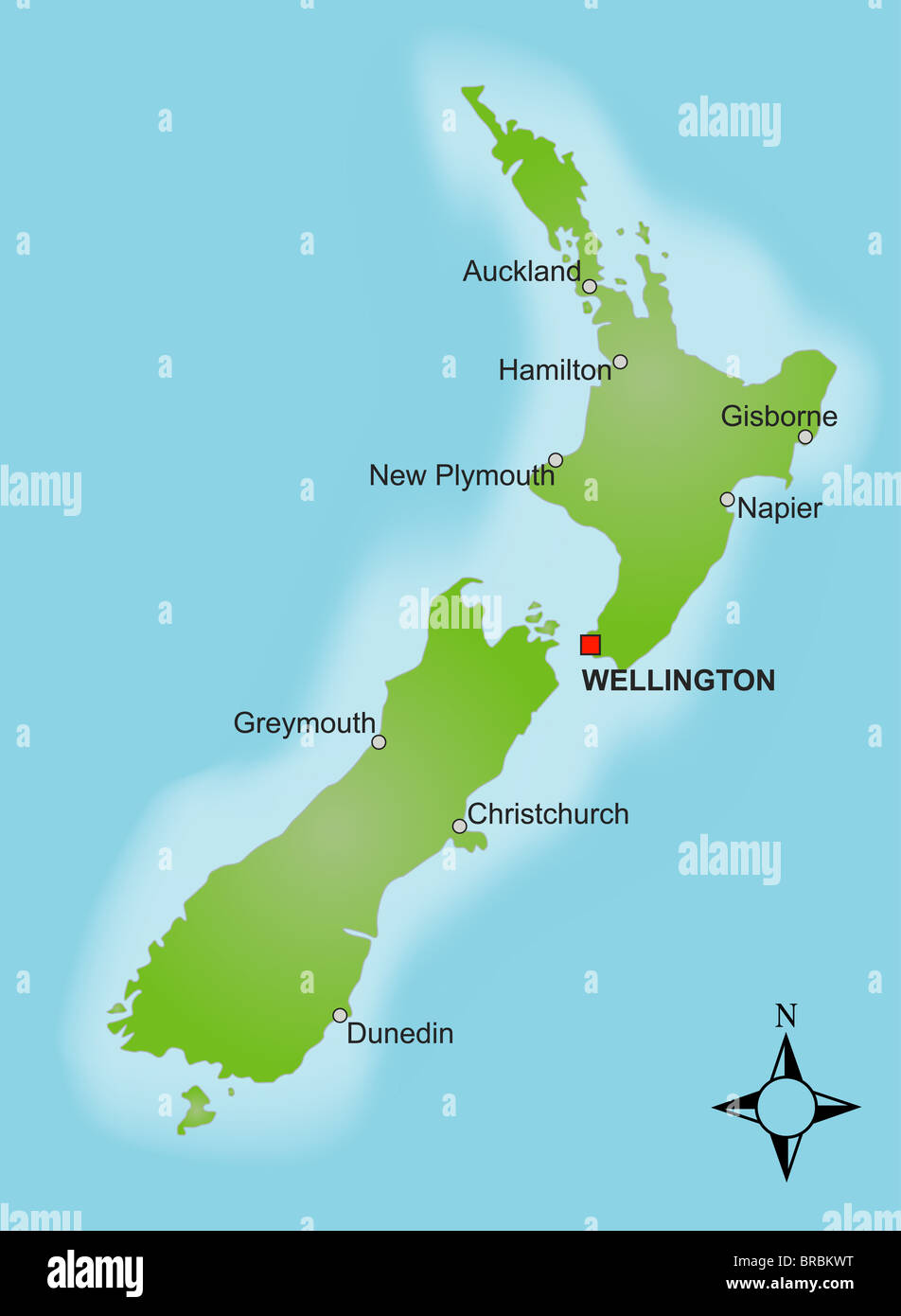 Cities In New Zealand Map.A Stylized Map Of New Zealand Showing Different Cities Stock Photo