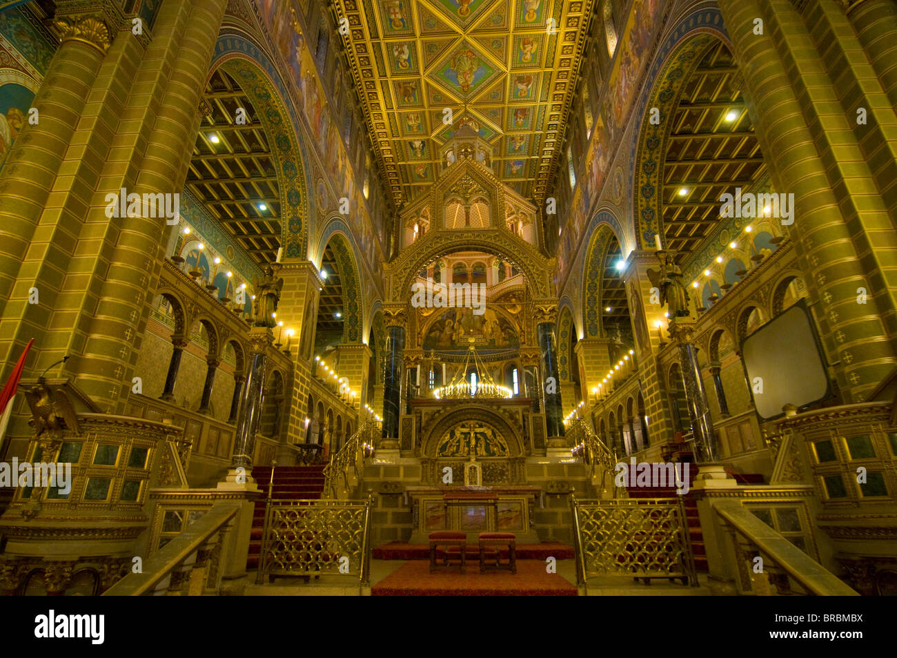 Inside view of the Szent Peter Basilica, Pecs, Hungary - Stock Image