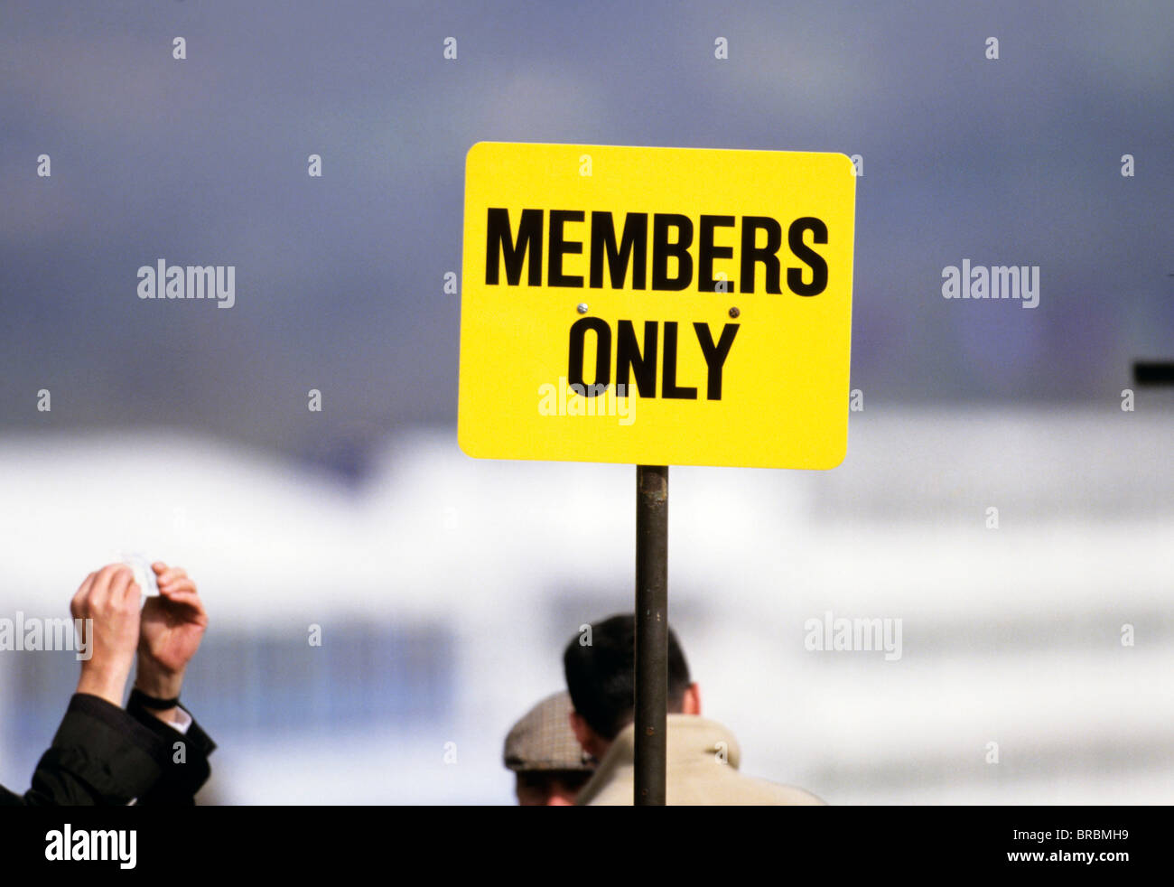 Grandstand sign for members only - Stock Image