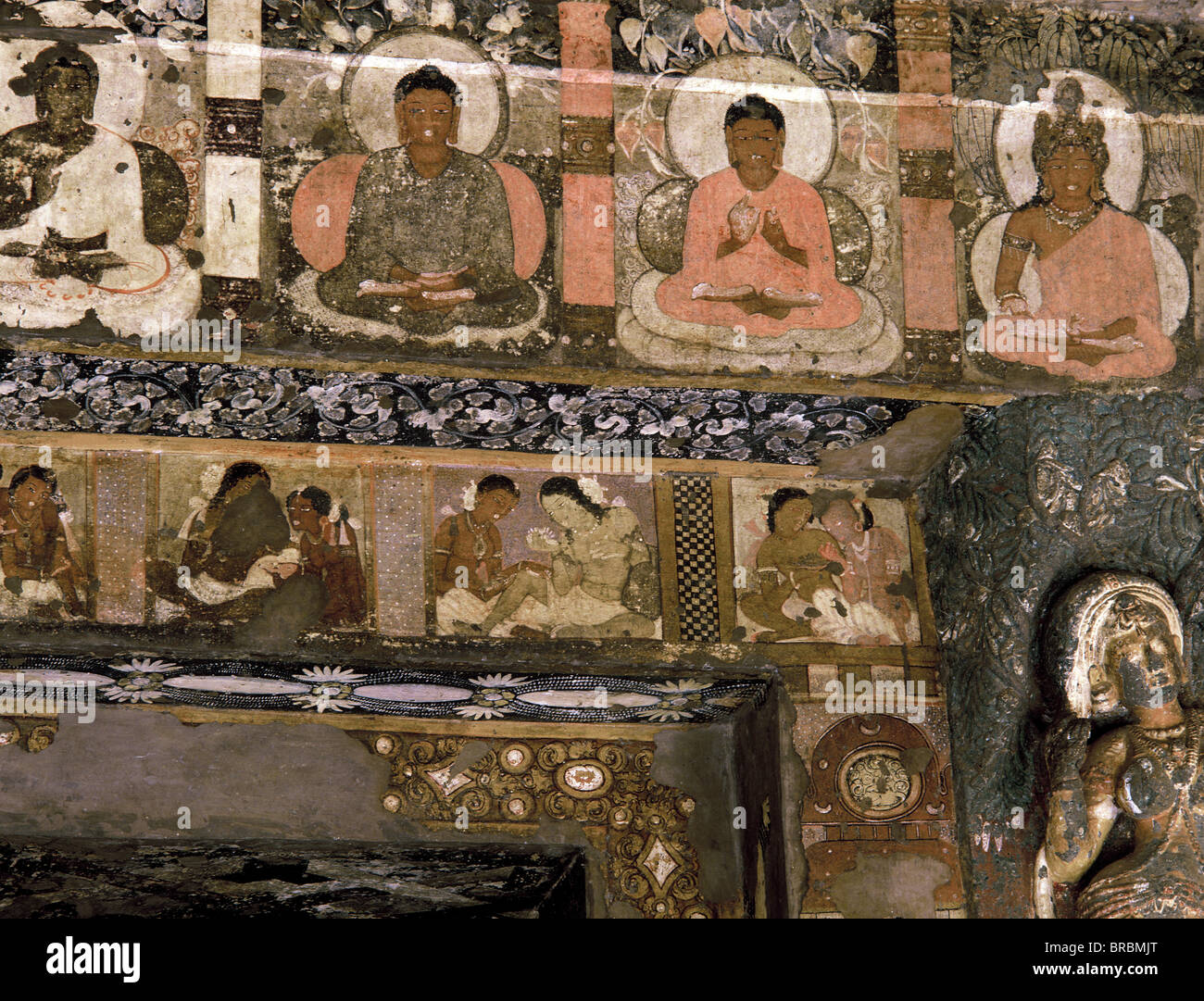 Detail of mural in Buddhist Cave No. 2, Ajanta, UNESCO World Heritage Site, Maharashtra, India - Stock Image