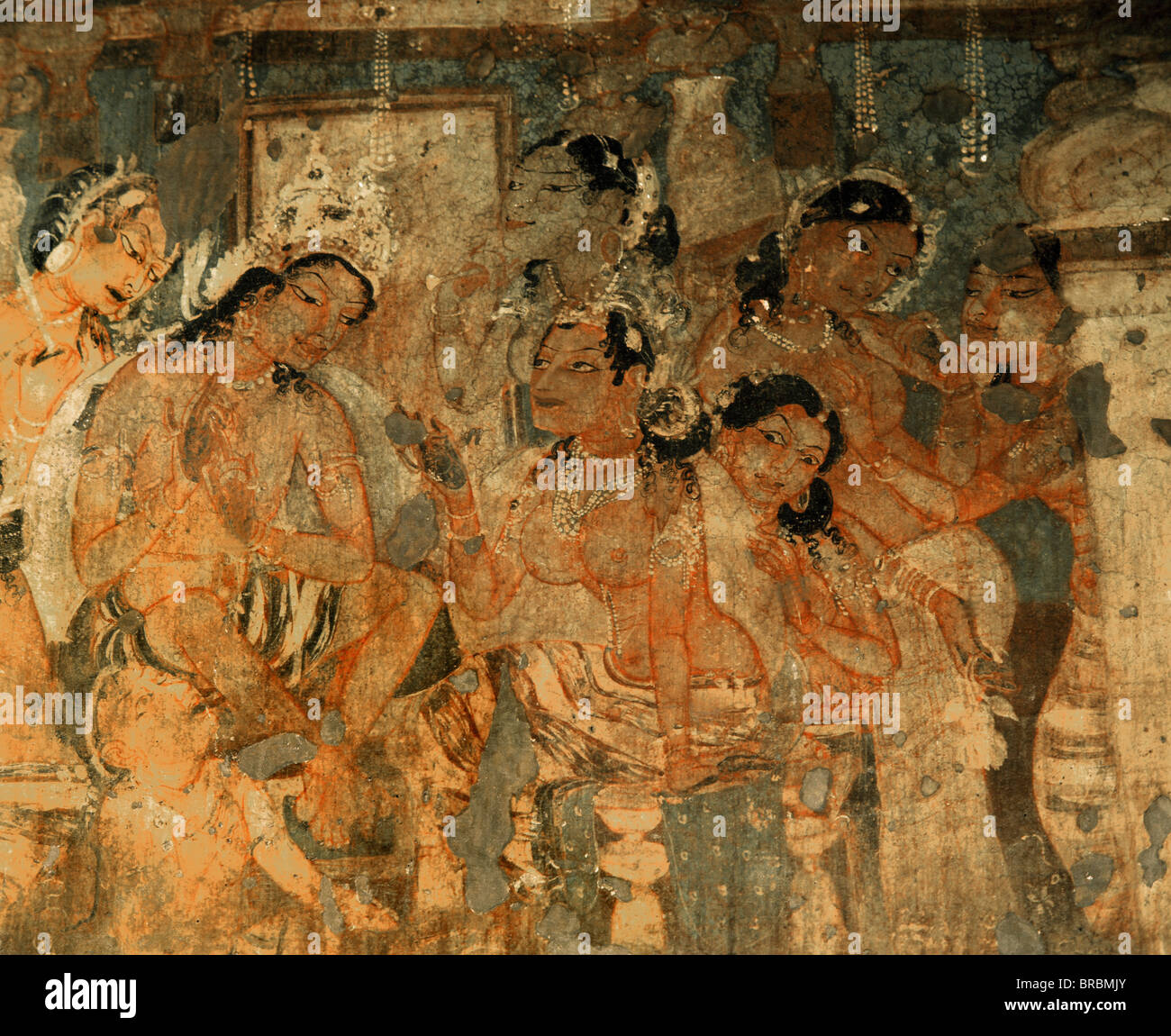 Detail of mural depicting king and queen, inside Cave No.1, Ajanta, UNESCO World Heritage Site, Maharashtra, India - Stock Image