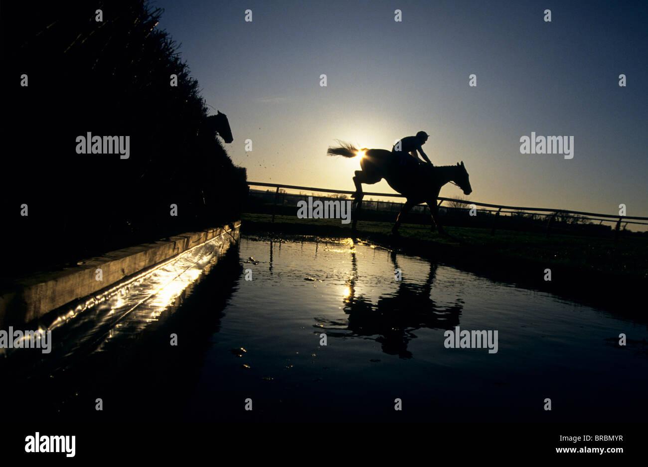 Steeplechase jockeys jump their horses over water jump Stock Photo