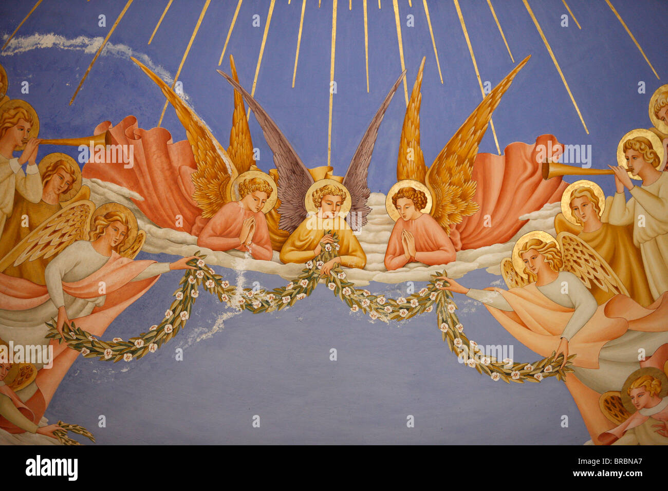 Detail of angels in a fresco in the Visitation church in Ein Kerem, Israel - Stock Image