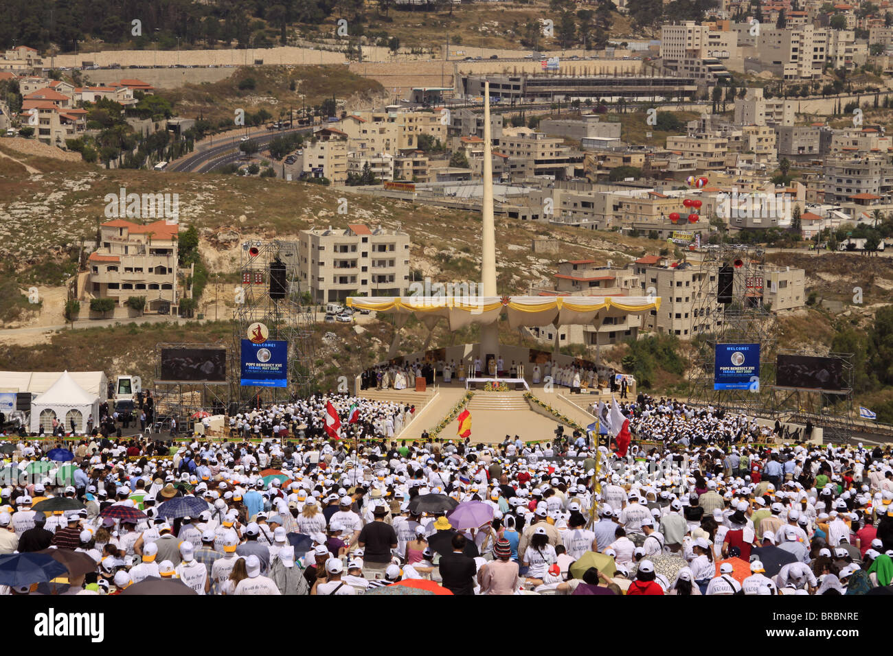 Pontifical Mass celebrated by His Holiness Pope Benedict XVI on the Mount of the Precipice in Nazareth, Galilee, Stock Photo