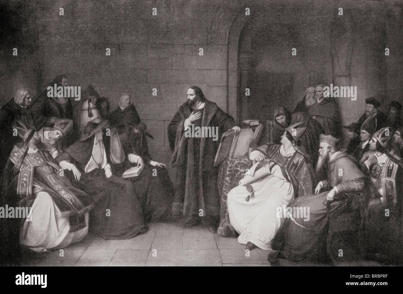 Jan Hus c.1369 - 1415. Czech priest, philosopher and reformer, before the Council of Constance in 1414. - Stock Image
