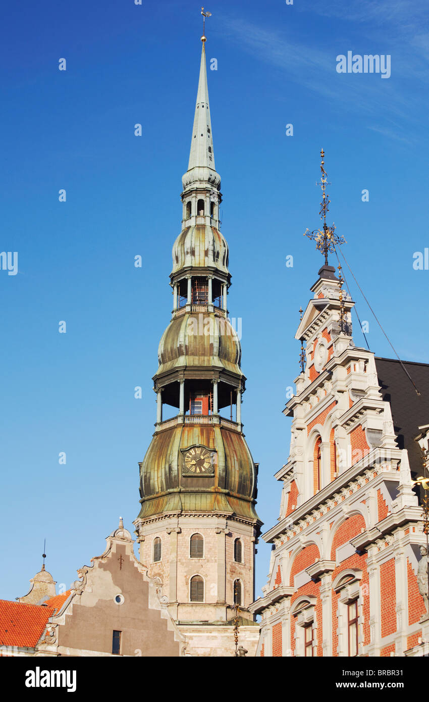 House of Blackheads with St. Peter's spire, Riga, Latvia, Baltic States - Stock Image