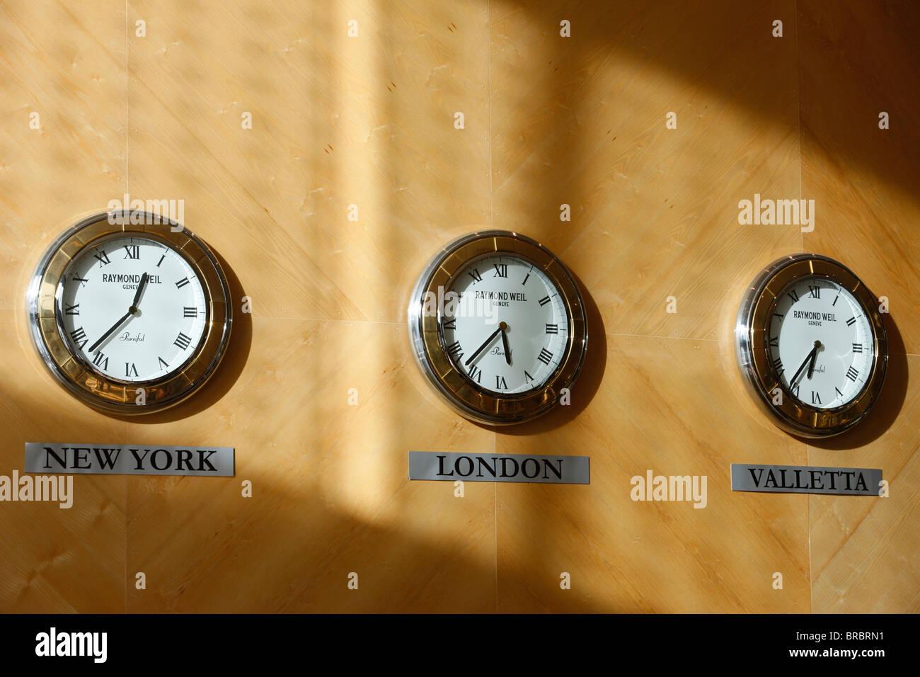 Hotel clocks, Valletta, Malta - Stock Image