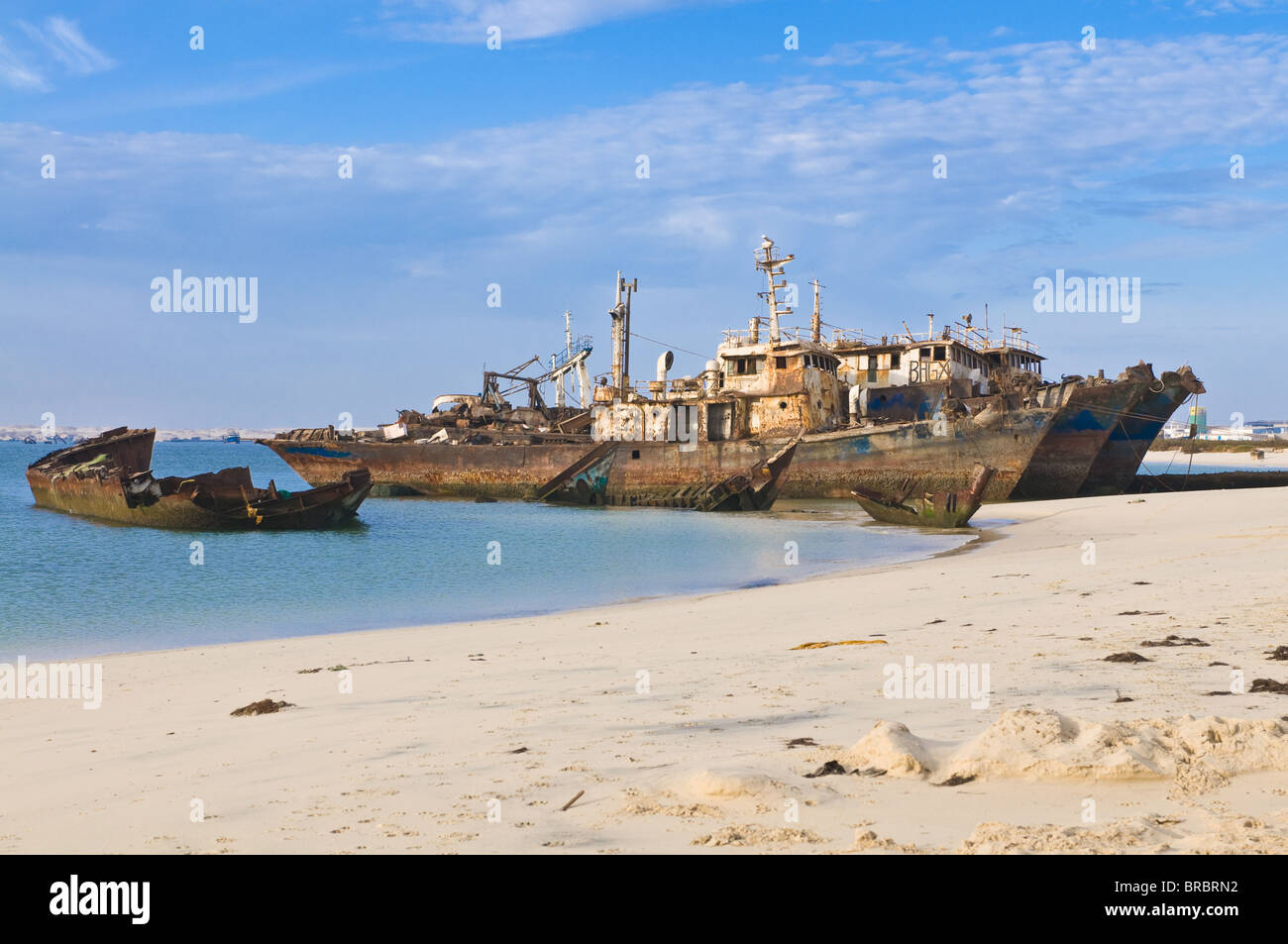Stranded vessels lying in the ship graveyard of Nouadhibou, Mauritania - Stock Image