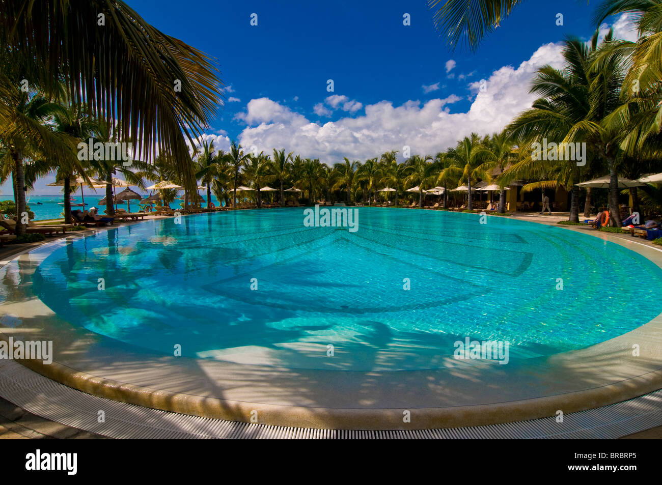 Swimming pool of the Beachcomber Le Paradis five star hotel, Mauritius, Indian Ocean Stock Photo