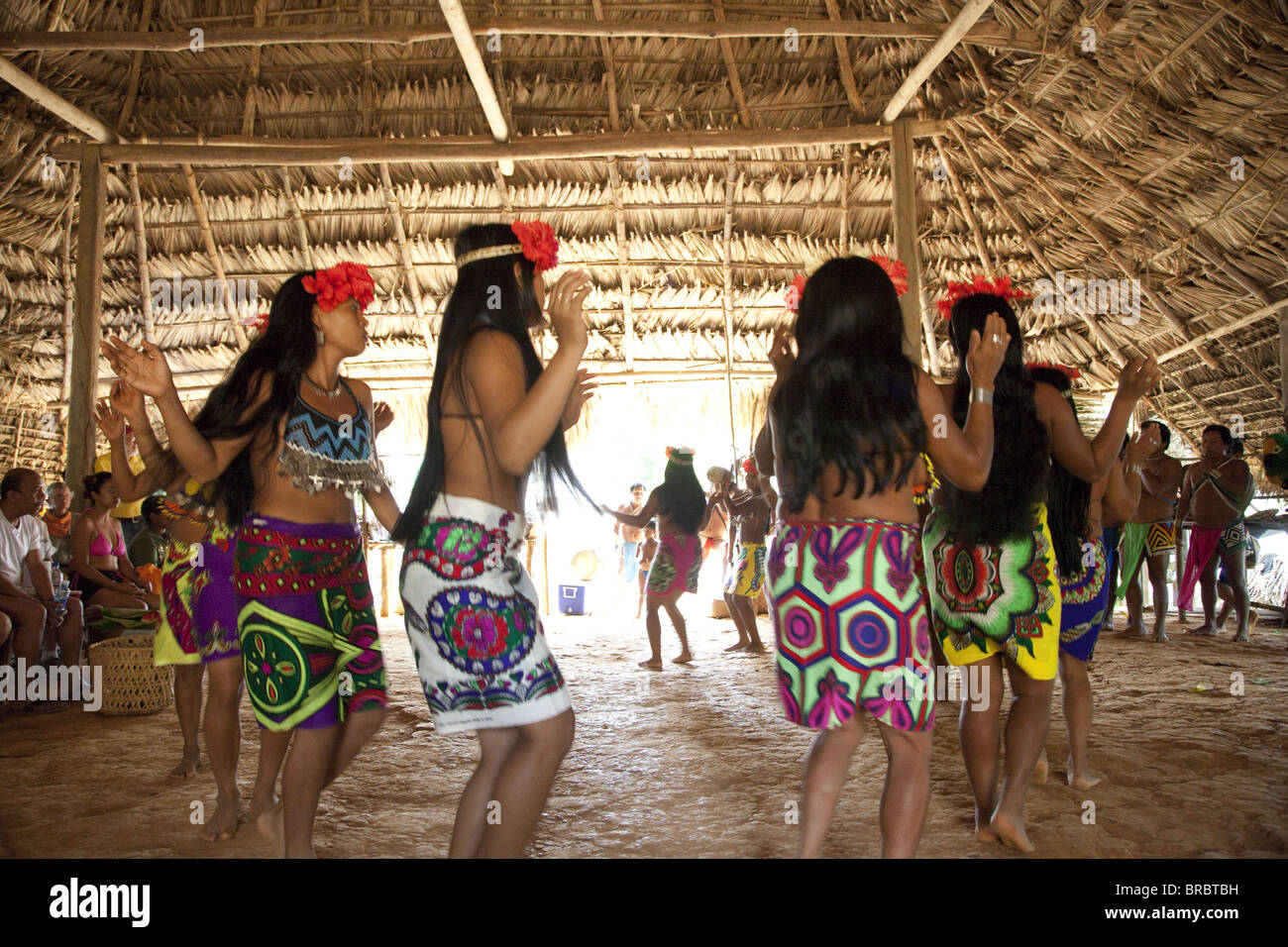 Dance show by Embera indigenous people, Panama, Central America - Stock Image