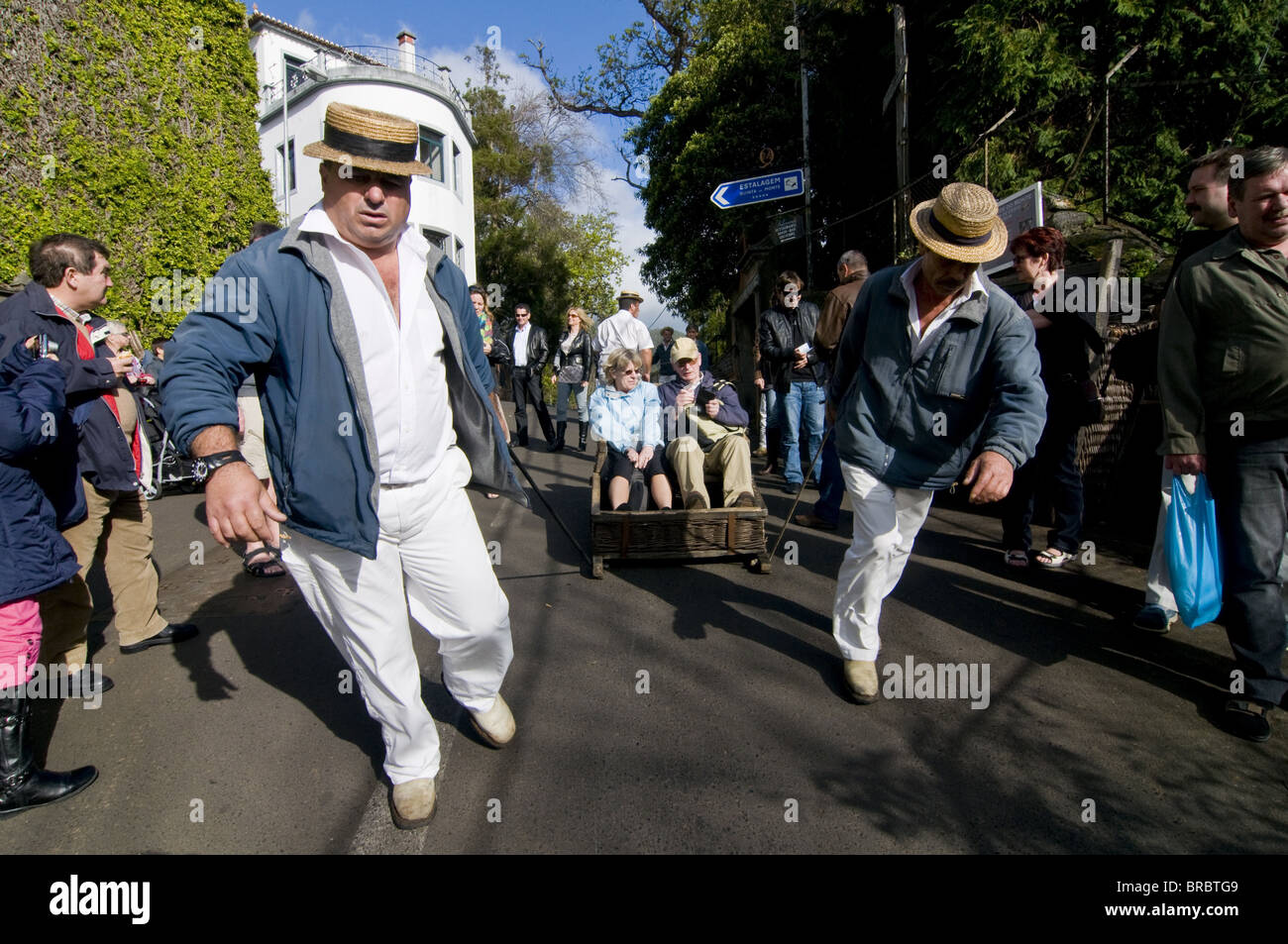 Sledge riding in Monte, above Funchal, Madeira, Portugal - Stock Image
