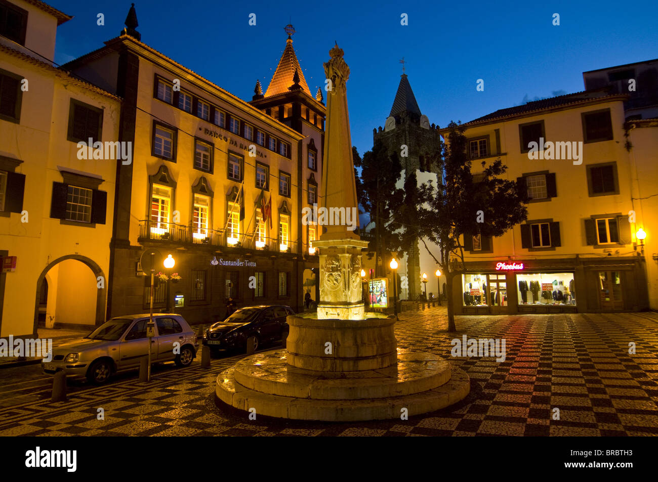 Square at night, Funchal, Madeira, Portugal - Stock Image