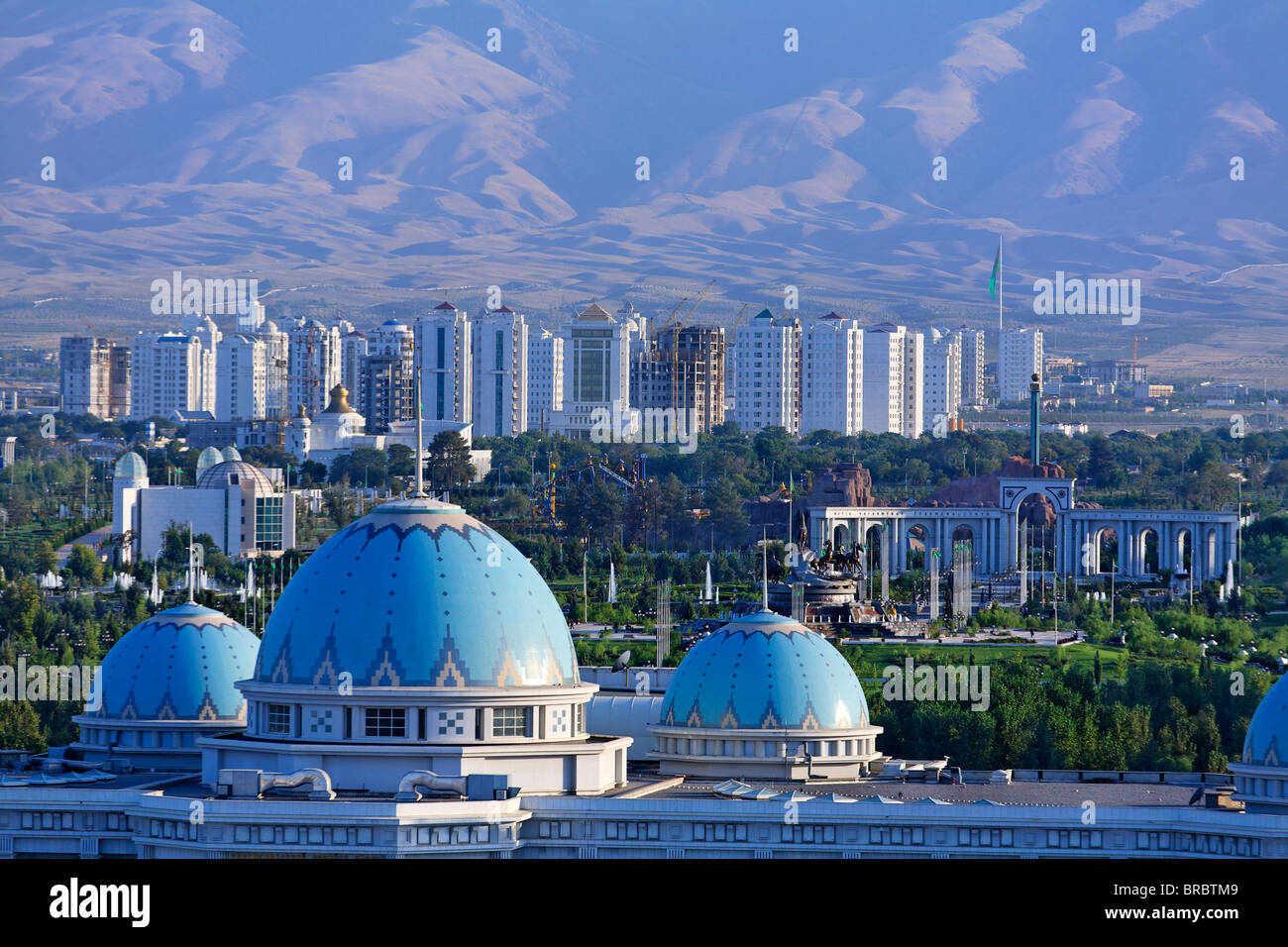 Turkmenistan - Ashgabat - the blue domes of the Ruhyyet Palace - Stock Image