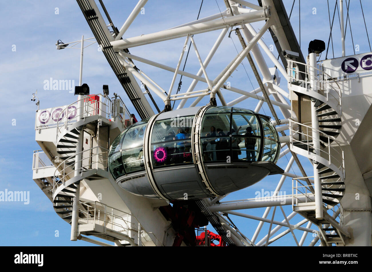 Close up of a London Eye Observation Capsule, London, England, UK - Stock Image