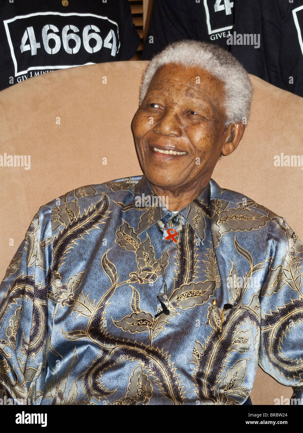 Nelson Mandela, president of South Africa between 1994 and 1999 at an event for HIV/AIDS campaign, Johannesburg, - Stock Image