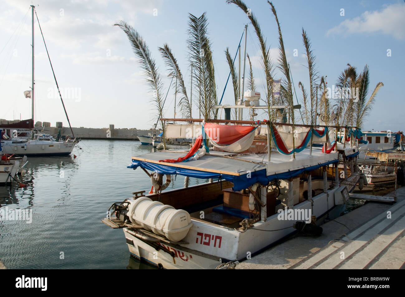 Boat decked in palm tree branches to celebrate Succoth, Old Jaffa Port, Tel Aviv , Israel - Stock Image