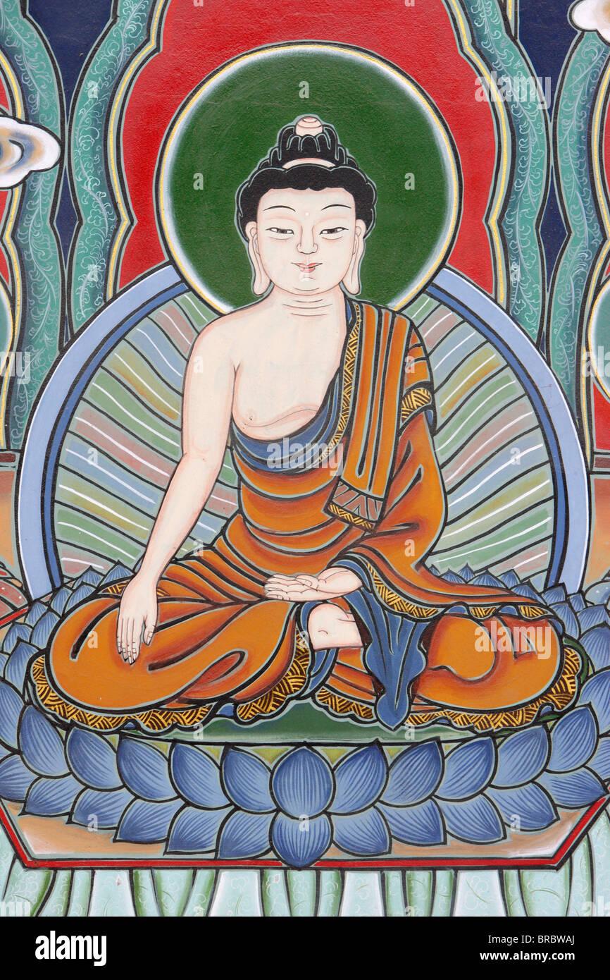 Meditation posture depicted in Life of Buddha, Seoul, South Korea - Stock Image