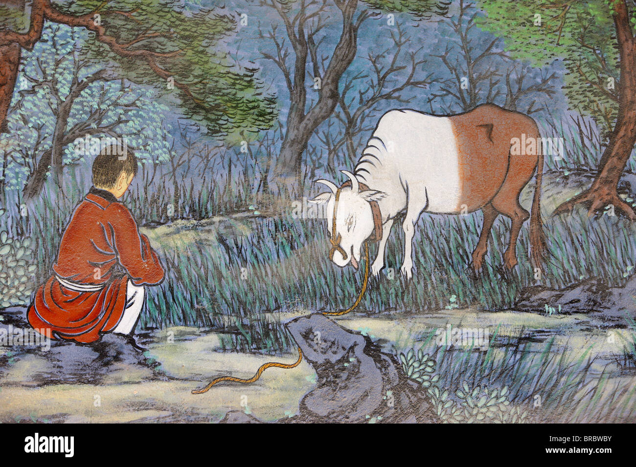 Painting of herding the Ox, from the ten Ox Herding Pictures of Zen Buddhism, Seoul, South Korea - Stock Image